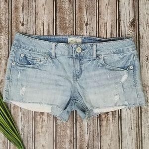 Aeropostale Light Wash Cut Off Jean Shorts Sz 7/8